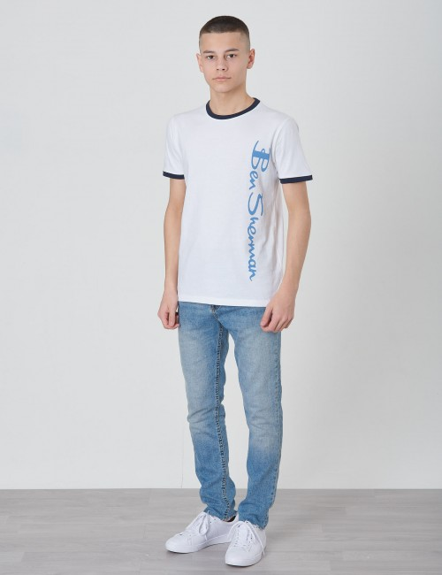 Ben Sherman barnkläder - Ringer Neck and Cuff Vertical Logo Tee