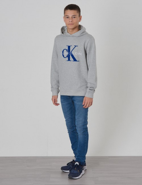 Calvin Klein barnkläder - MONOGRAM TERRY HOODIE