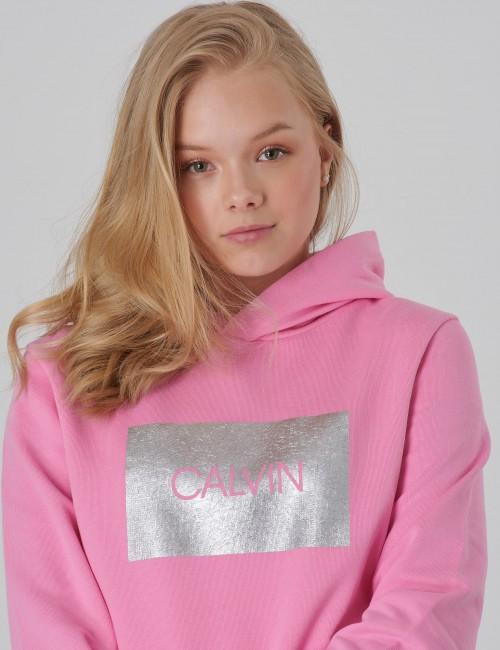 Calvin Klein barnkläder - CALVIN SILVER BOX TERRY HOODIE