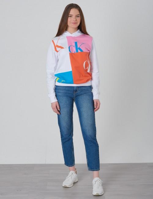 Calvin Klein barnkläder - MONOGRAM PATCHWORK LIGHT HOODIE