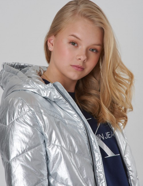 Calvin Klein barnkläder - SILVER LIGHT HOOD BOMBER Girl