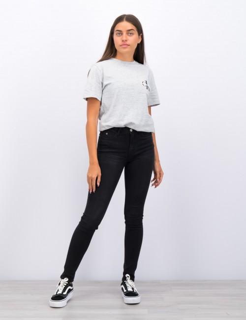 Calvin Klein barnkläder - SKINNY HR CHALK  BLACK STRETCH