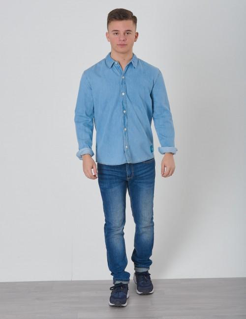 Calvin Klein barnkläder - MONOGRAM SHIRT MID BLUE