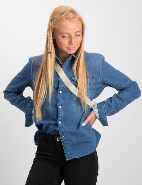 STRETCH KNITTED DENIM SHIRT
