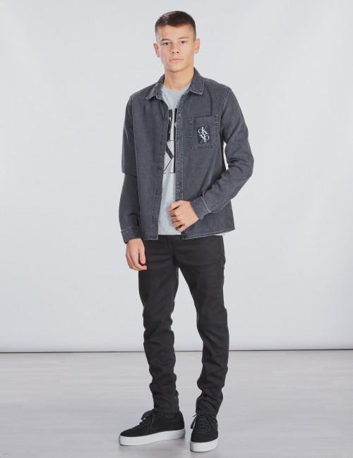 Calvin Klein barnkläder - SHIRT BOYS GREY BLACK
