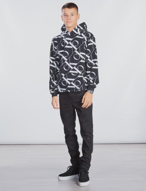 Calvin Klein barnkläder - MIRROR MONOGRAM AOP HOODIE