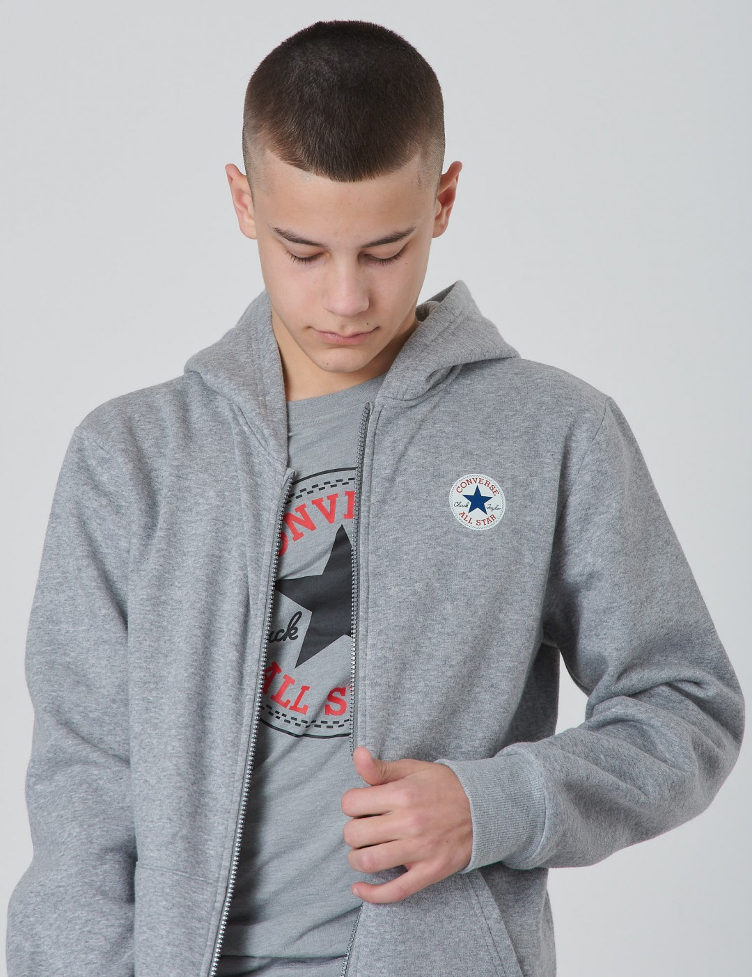 3711d882 Om Fleece Chuck Patch Full Zip Hoodie - Grå från Converse ...