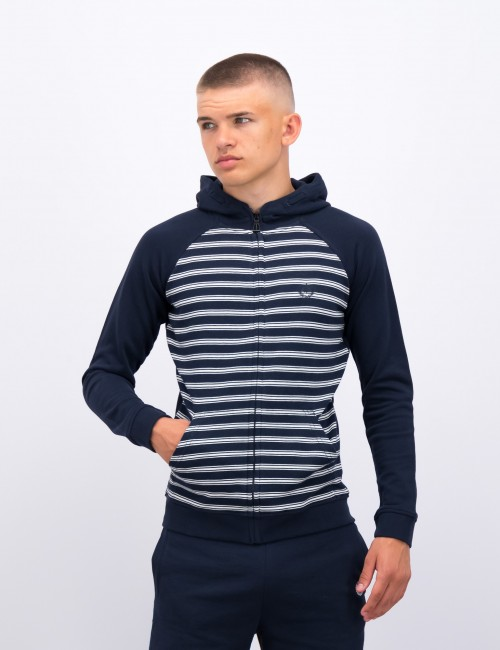 LB STRIPE FRONT ZIP THROUGH HOODIE