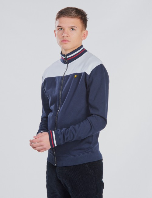 Tipped Funnel Neck Sweat Jacket