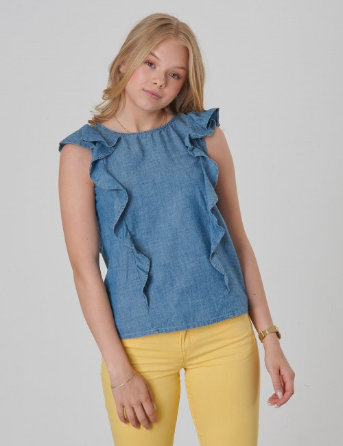 CHAMBRAY TOP-TOPS-SHIRT
