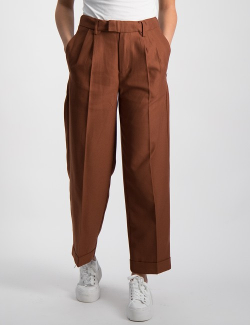 High waist wide leg pants with turn-up