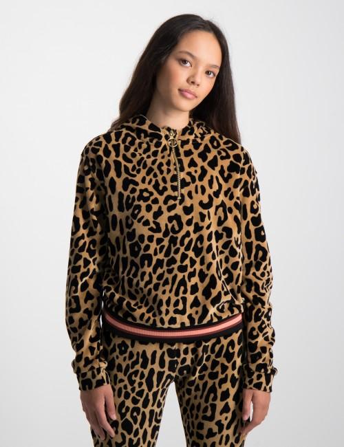 Oversized half-zip velour leopard hoody