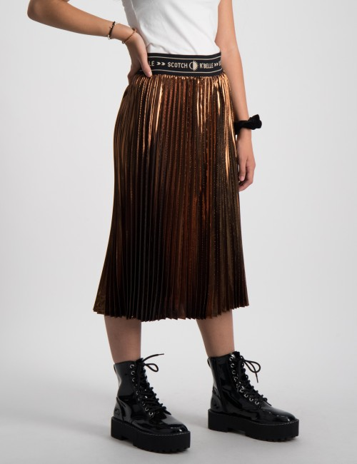 Longer length gold pleated skirt