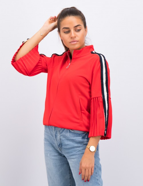 Sporty sweat with pleated 3/4 sleeves