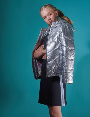SILVER LIGHT HOOD BOMBER Girl
