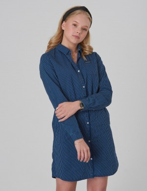 SHIRT DRESS BLUE STRIPE RIGID