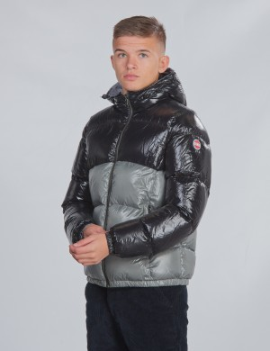 ULTRA-GLOSSY COLOURBLOCK DOWN JACKET