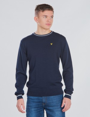 Tipped Rib Crew Neck Knitted Jumper