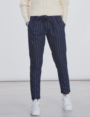Relaxed slim fit lurex pinstripe pants