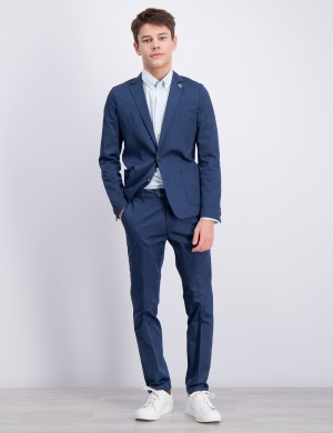 Suit with subtle yarn dyed stripe
