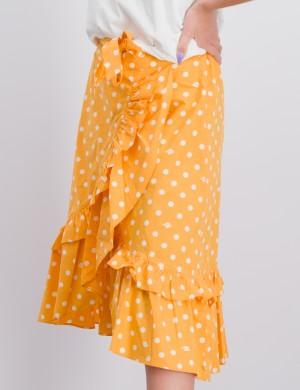 Maxi length wrap skirt with ruffles