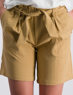 High waisted wide leg paperbag shorts