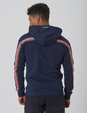Zip through hoody with tape detail