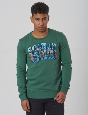 Crew neck sweat with colourful logo artwork