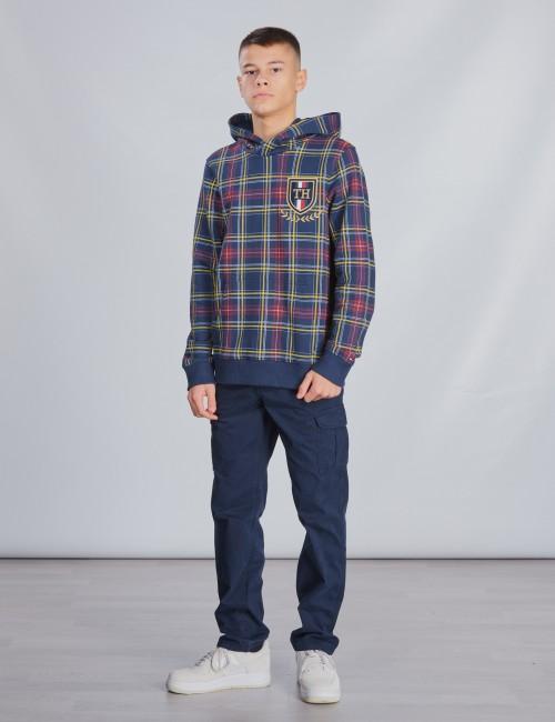 Tommy Hilfiger barnkläder - U PRINTED CHECK HOODIE
