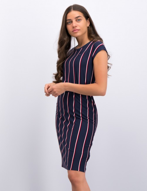 VERTICAL STRIPE KNIT DRESS
