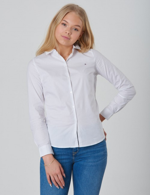 Tommy Hilfiger barnkläder - GIRLS STRETCH POPLIN SHIRT L/S